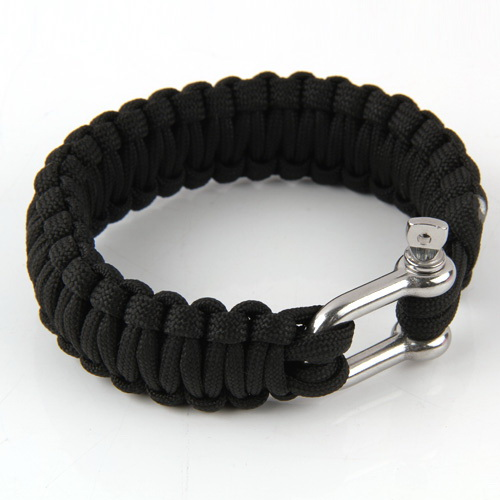 New Stainless U-Shape Buckle Black Paracord Survival Parachute sub-thread Cord Bracelet Camping Hiking