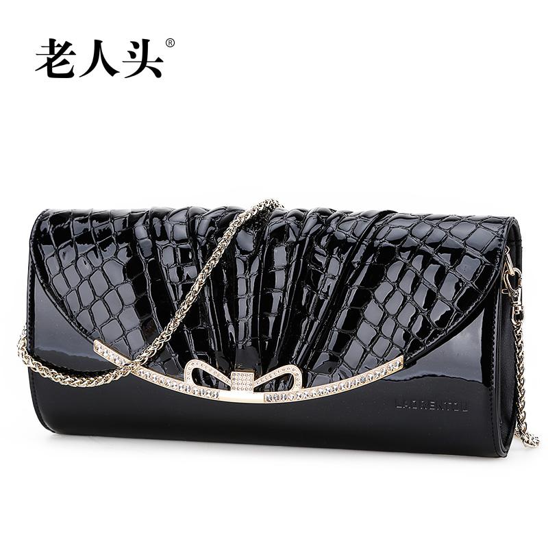 2014 Fashion women genuine leather shoulder bag cross-body handbag trend chain day clutch Crocodile small cowhide evening bag