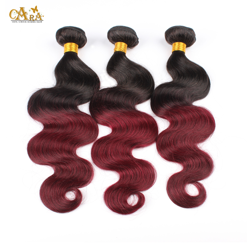 Peruvian Virgin Hair Body Wave Ombre Hair Extensions Rosa Hair 3pcs Lot Two Tone 1b/99j Burgundy Red Human Hair Weaves Wavy