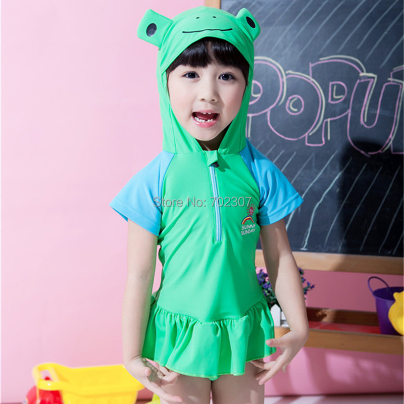 Arrived Cute cartoon green Frogs baby girl Swimwear children Girl's Suits 5set/lot SM-19