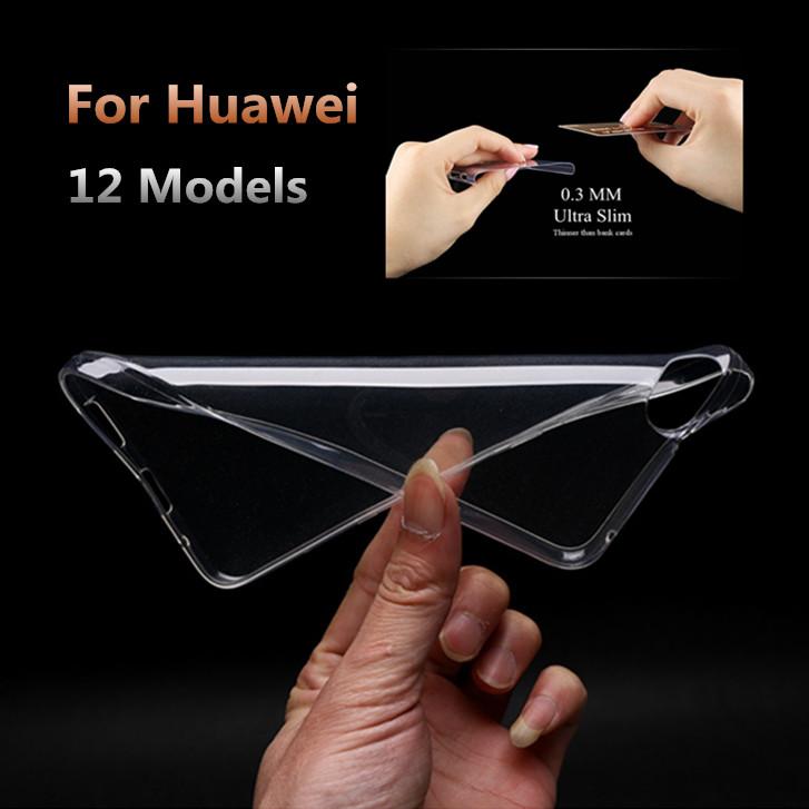 0.3mm Ultra-thin Clear Transparent TPU Soft Cover Case Huawei Ascend P7 P8 Lite Mini G7 Honor 7 6 Plus 4 4x 5X 4a 4c Mate - Lei-R mobile phone accessories Ltd store