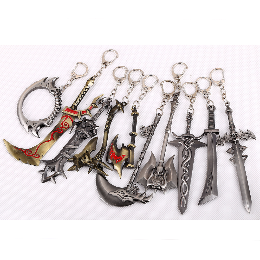 Hot Game Word of Warcraft Weapon Model Sharp Knife Black&Gold Key Chain 10 Selections Gift Game Fans WOW Kampilan Cool Key Ring(China (Mainland))