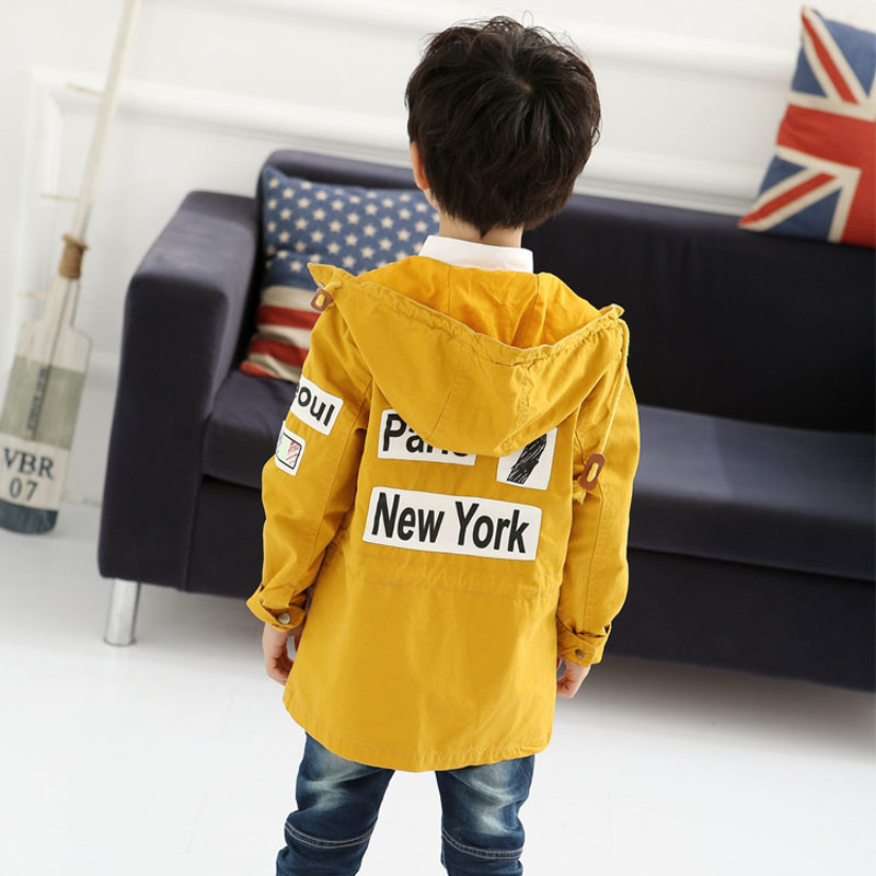 2015 children's wear new Korean trench coat fashion trend fall/winter boy letters printed long sleeve hooded Pocket