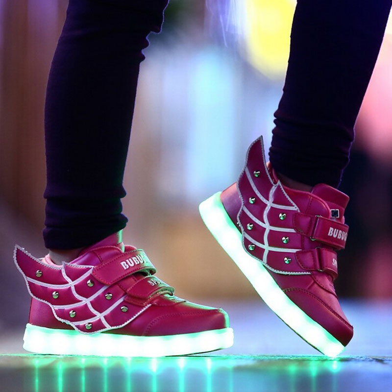 2016 Fashion Wings Children sneakers Kids LED light shoes high top walking Boys Girls luminous sport - Trade tribes with Chinese characteristics store