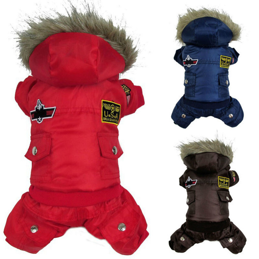 Dog Pet Warm Winter Coat Jacket USA AIR FORCE Waterproof Puppy hoody Clothes Padded Jumpsuit Pants Apparel Clothes for cat Puppy(China (Mainland))