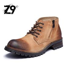 Top new men boots ankle fashion casual shoes style cowboy leather suede flats lace-up season autumn winter japanese designer(China (Mainland))