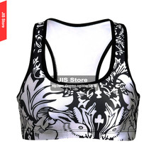 3D Black Milk White Rabbit Sports Bra For Running Gym Padded Wirefree Shakeproof Push Up Seamless Fitness Top fitness Bras