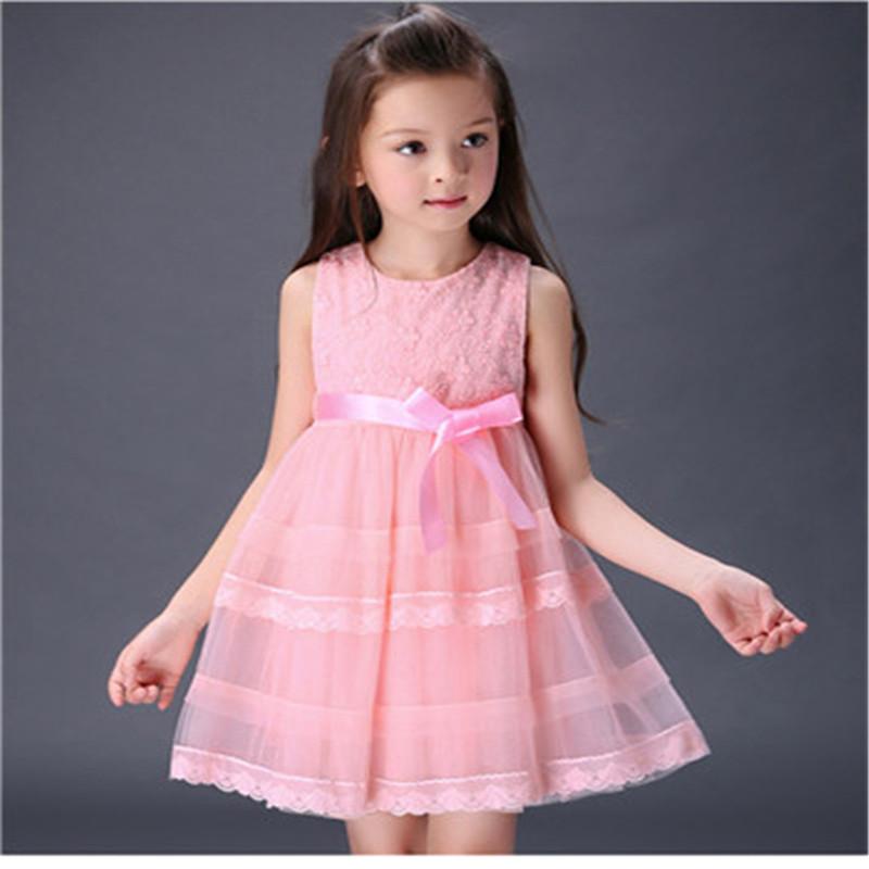 2016 summer new children's clothing girls dress children dress princess dress small fresh pure yarn bow(China (Mainland))