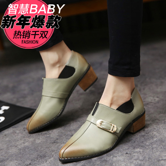 Hot-selling 2015 spring single pointed toe elegant thick heel shoes single shoes all-match brief womens shoes<br><br>Aliexpress
