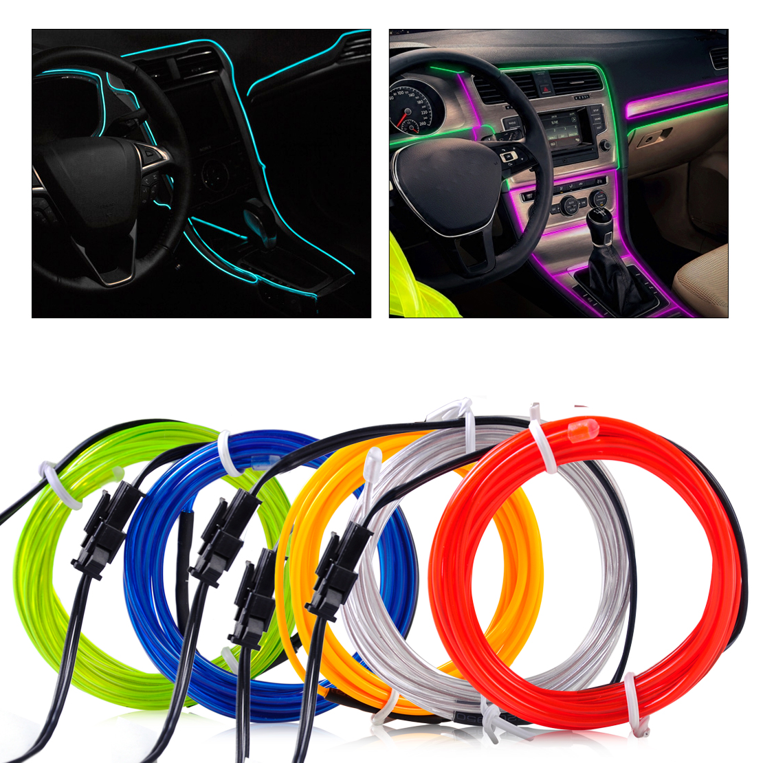 1x new 3mm 2m el wire flexible stylings car interior decor fluorescent neon light strip cold. Black Bedroom Furniture Sets. Home Design Ideas