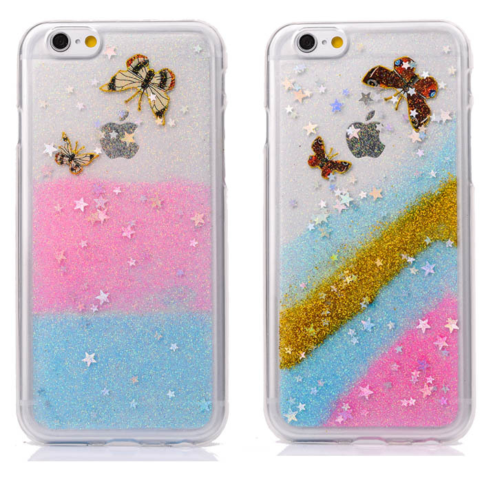 Luxury Clear Cute Back Cover Case For Apple iPhone 6 4.7/ Plus 5.5 Soft TPU Glitter Bling Stars Butterfly Phone Bag New Style(China (Mainland))
