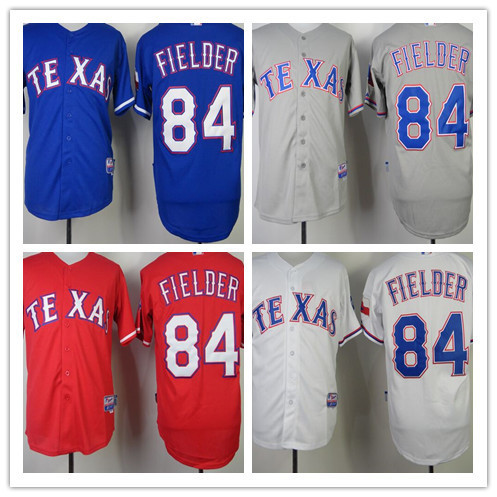 Best Seller Baseball Jersey Texas Rangers #84 Prince Fielder Stitched Sport shirt wholesale White Blue Red Gray Embroidery Log(China (Mainland))
