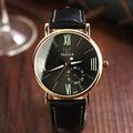 New YAZOLE Luxury Backlight Black Brown Genuine Leather Quartz Business Dress Watch Wristwatch for Women Male
