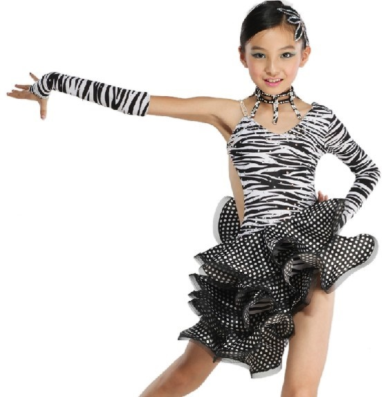 Dance dress sexy child kid one shoulder cha cha modern competition jpg