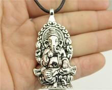 Buy 12pcs/lot Wholesale fashion antique bronze, antique silver big elephant Ganesha pendant leather chain necklace for $14.98 in AliExpress store