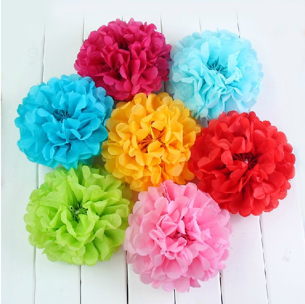 Buy decorative paper flowers pc hot sale cm tissue paper pom poms wedding party decoration crafthubs mightylinksfo