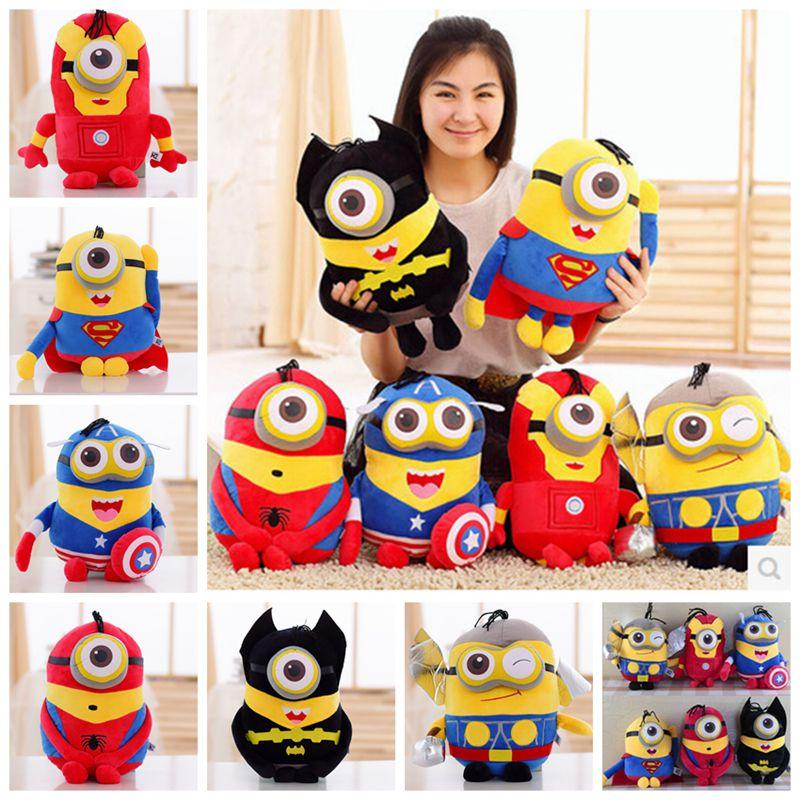 Despicable Me Brinquedos Minions Plush Toys Captain America Superman Spider-Man Batman Iron Man Thor 3D Eyes minion stuffed toys(China (Mainland))