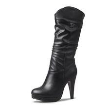 Karinluna 2019 dropship große größe 32-46 retro high heels frauen schuhe frau stiefel plattform mic-kalb stiefel weibliche schuhe frauen(China)