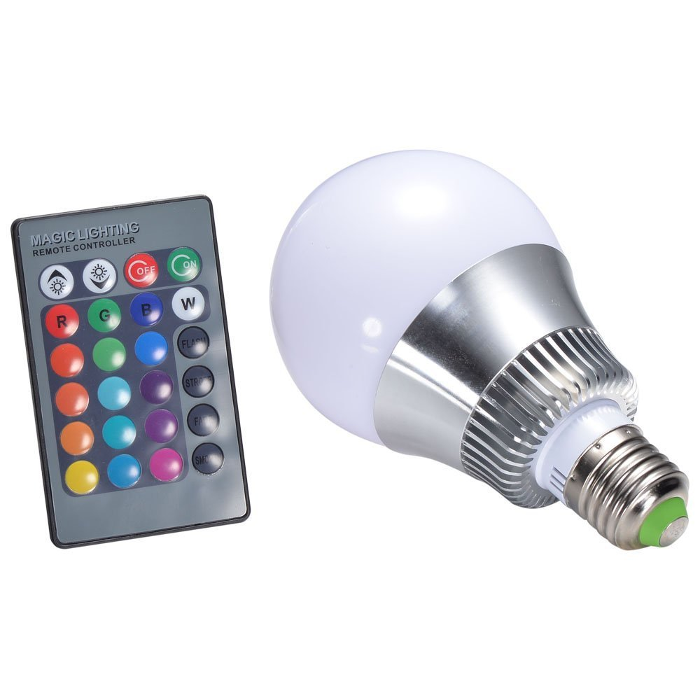 10w e27 rgb led light bulb 24 key ir remote control led lamp color changing a. Black Bedroom Furniture Sets. Home Design Ideas