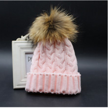 Adult Size stylish cable genuine real raccoon fur pom pom crochet beanies skull cap knitted women winter hat POM POM size 15cm(China (Mainland))