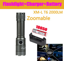 LED Outdoor Flashlight CREE XML T6 2000 Lumen 3 Modes Led Rechargeable Flash Light Lantern For Hunting+1*18650 Battery+Charger(China (Mainland))