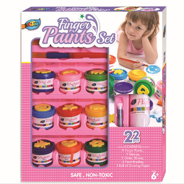 Artoys Washable Finger Paints,9 Finger Paints, 9 Stamps, 1 Glitter Shaker, 2 Paint Brushes, 1 Ross of Drawing Paper DIY Toys(China (Mainland))
