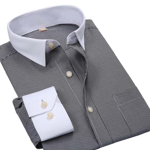 Люксового бренда мужчин рубашки полосой мода с длинным рукавом покрой белый воротничок ...