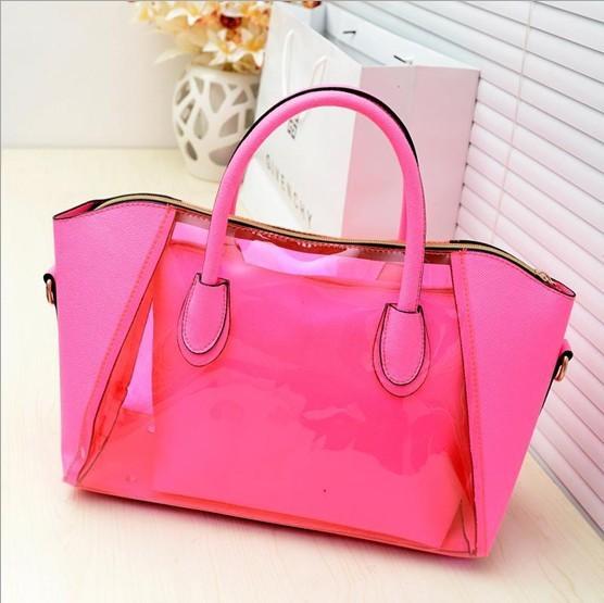 Free Shipping Korean Waterproof Jelly Totes Crystal Transparent Beach Handbag Shoulder Bag LQ279