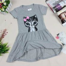 Hot Sale New 2016 summer girl dress cat print grey baby girl dress children clothing children dress 0-8years(China (Mainland))