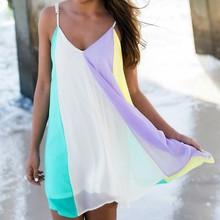 Buy Vestidos 2016 Summer Women Boho Dress Beach Wear Women Sexy Sleeveless Chiffon Mini Dress Spell Color Ladies Beach Party Dress for $9.52 in AliExpress store