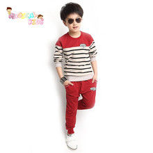New Autumn Spring Children Clothing Sets Long Sleeve Striped Baby boy's Suits Shirts And Trousers roupas infantis menino
