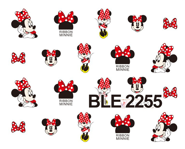 1 Sheet Nail Decal BLE2255 Big Red Black Cartoon Nail Art Water Transfer Sticker Decal Sticker For Nail Wraps(China (Mainland))