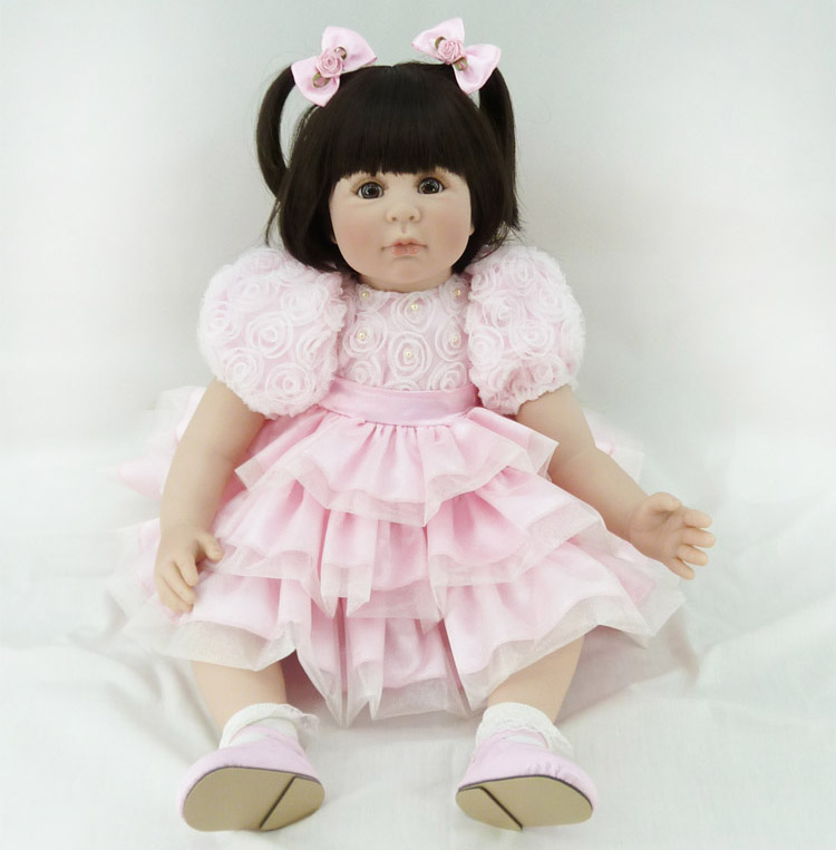 60cm Silicone Reborn Baby Like Real Doll Toy 24inch Vinyl Princess Toddler Girl Babies Doll Birthday Gift Present Toy Present(China (Mainland))