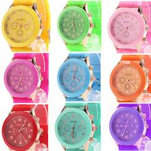 2014 new arrival Unisex Women Ladies Boys Girls Geneva Silicone Jelly Golden Quartz Wrist Watch free