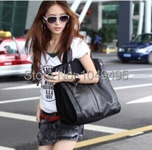 2014 new European American fashion womens black leather canvas casual handbags shoulder bag messager bags  bolsas free shipping<br><br>Aliexpress