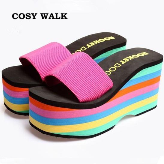 Летом женские вьетнамки клинья платформы туфли на высоком каблуке 9.5 см скольжению ...
