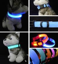 Nylon LED Pet Dog Collar,Night Safety Flashing Glow In The Dark Dog Leash,Dogs Luminous Fluorescent Collars Pet Supplies(China (Mainland))
