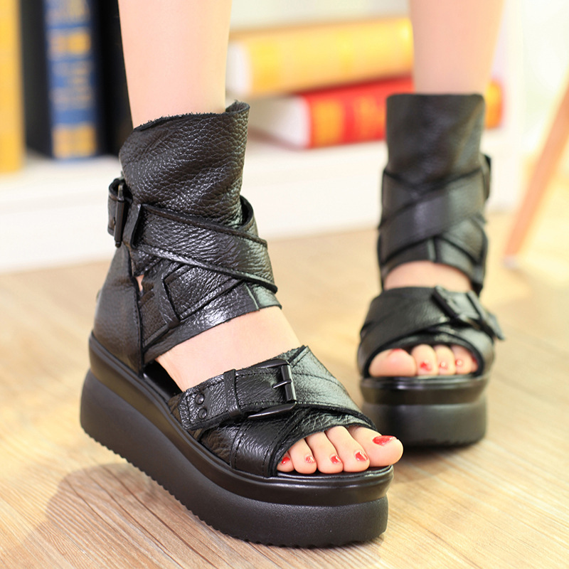 Гаджет  black platform sandals open toe shoes woman summer flat sandalias femininas None Обувь