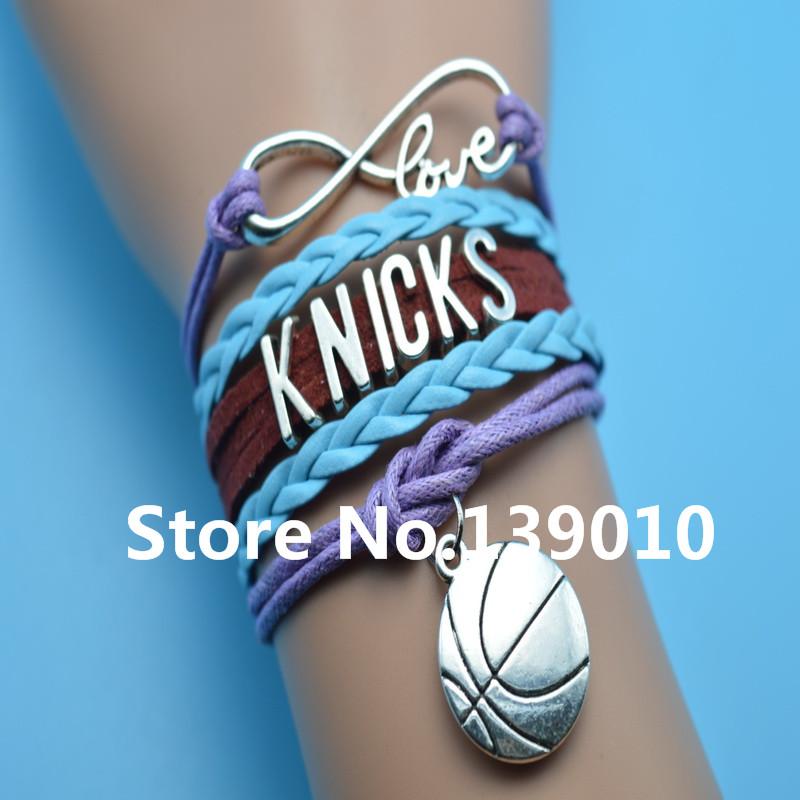 Infinity Love Knicks Basketball Charm Bracelets Blue Wine-red Purple Leather Rope Customize Men East Team Sports Popular Bangles(China (Mainland))
