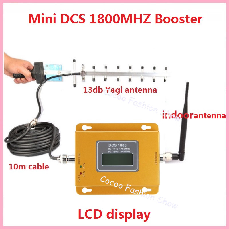 LCD Display!!! Mini 2G 4G LTE GSM DCS 1800MHZ Mobile Signal Repeater , 1800MHZ cellular signal booster + 13db Yagi Antenn(China (Mainland))