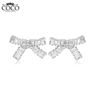 CZ Bow Stud Earrings Cubic Zirconia Fashion Earring For Women Luxury Cute Accessories 18K Evening Party Jewelry New(China (Mainland))