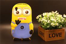 Case Sony Xperia M4 Aqua Dual E2303 E2333 E2353 Soft Silicon Back Lovely 3D Cartoon Despicable Yellow Minion Shape Cover - Rose Angel store