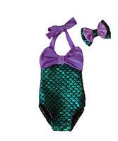 Meisjes badmode 2 stks kids baby meisjes zomer badmode strik mermaid bikini hoofdband voor 2-7Y