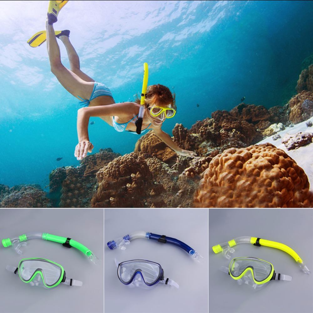 Swimming Scuba Semi-dry Snorkel Breath Tube + Diving Mask Glass Lens Set nieuwe collectie(China (Mainland))