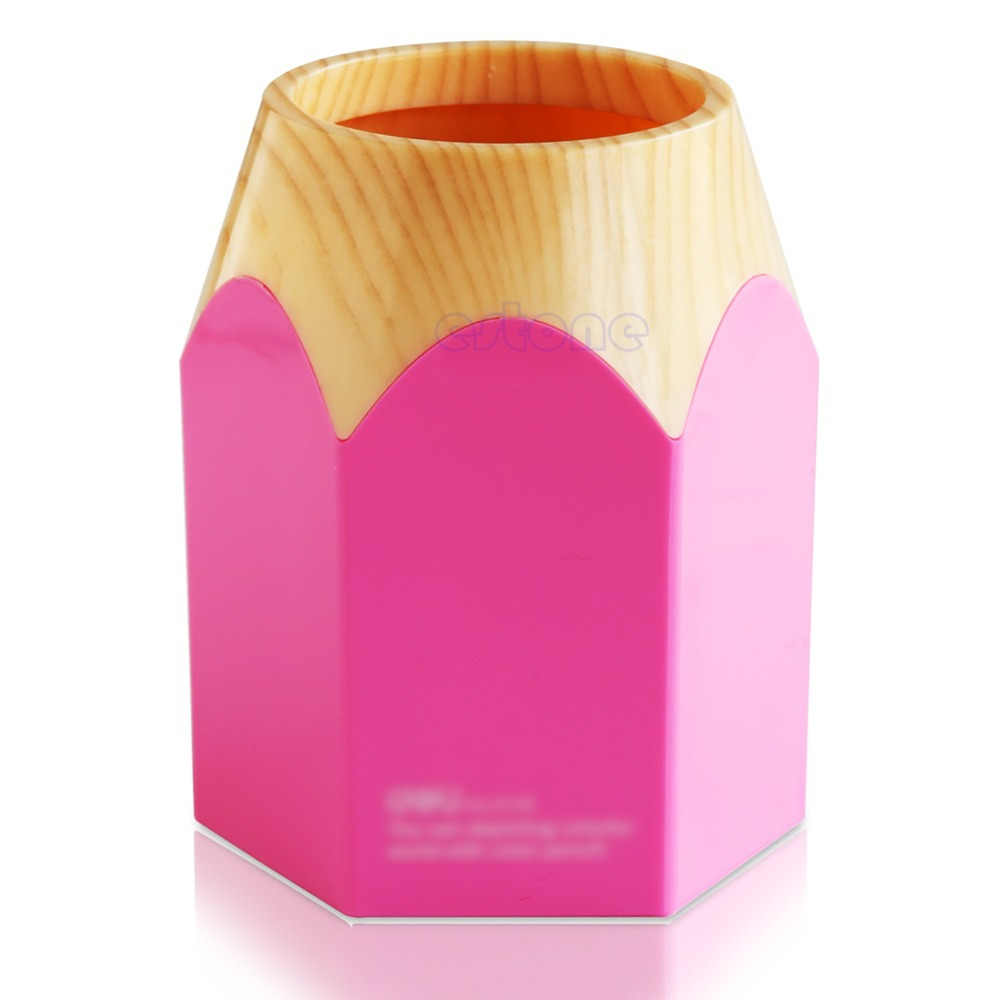 "Z101"" Pink/Blue Pencil Makeup Brush Holder Pen Cup Box Desk Organizer Kids Gift New(China (Mainland))"
