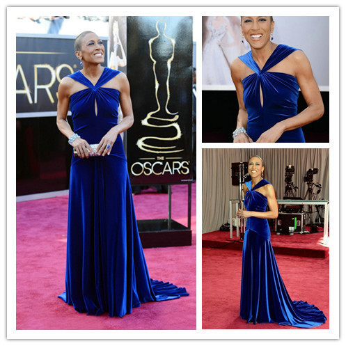 Unique Dark Royal Blue V-neck Celebrity Dresses Robin Roberts Academy Awards 2016 Red Carpet(China (Mainland))