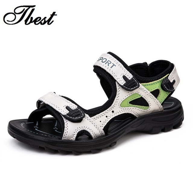 Женщины сандалии из натуральной кожи плоский летняя обувь открытый туфли на платформе ...