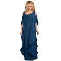 New Real Mother Of The Bride Dress Natural Floor length Cap Sleeve Ruffles Chiffon Moroccan Kaftan