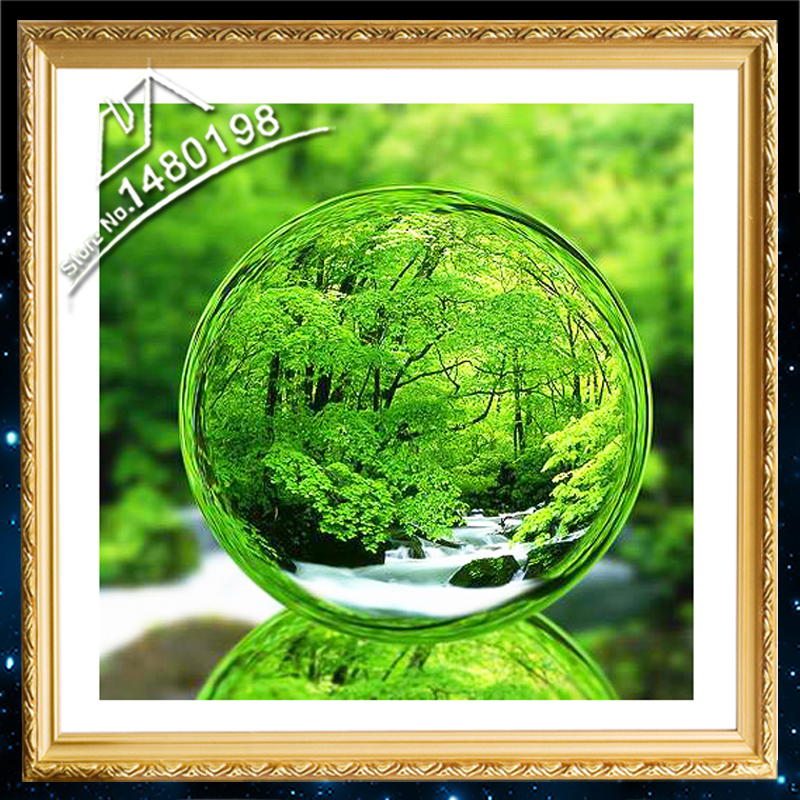 DIY 3D 5D Diamond Painting Top Grade Cross Stitch Kits Green World in Crystal Ball Picture of Rhinestones Full Embroidery Stone(China (Mainland))