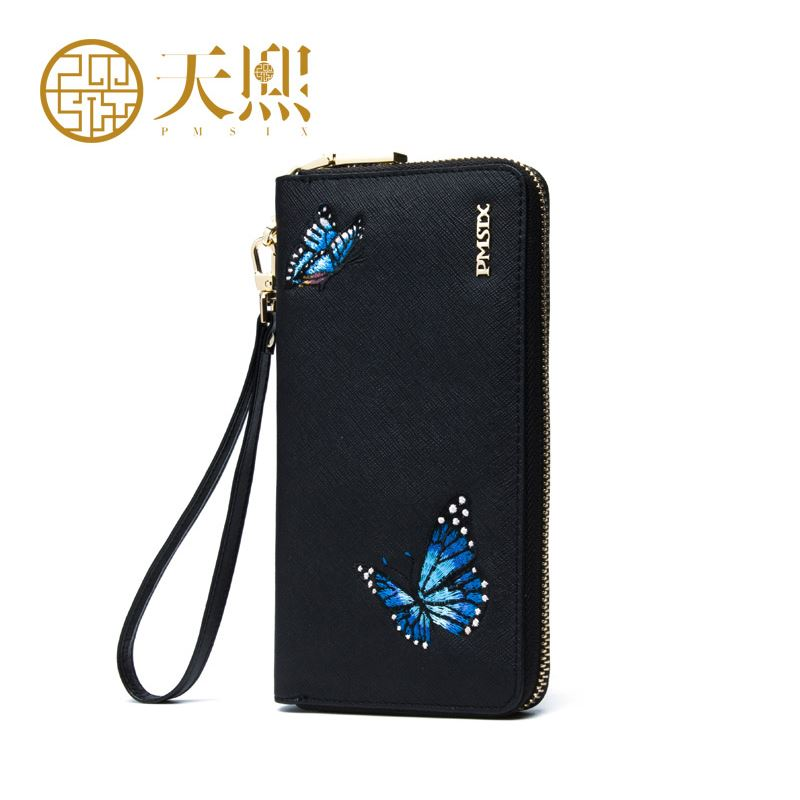 Chinese style butterfly embroidered brand ladies purses Womens leather wallet with coin pocket Luxury clutch purse  Long Wallet<br><br>Aliexpress